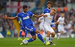 Leeds United's Samu Saiz is fouled by Ipswich Town's Jordan Spence during the Sky Bet Championship match at Elland Road, Leeds.