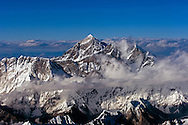NEPALESE AIR SPACE - Arial view of Mount Everest and the Himalayan mountain range.  (Photo © Jock Fistick)