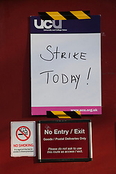 © Licensed to London News Pictures. 30/11/2011. London, UK. Public Sector Strike in Central London. Sign on door at London University. Photo credit: Bettina Strenske/LNP