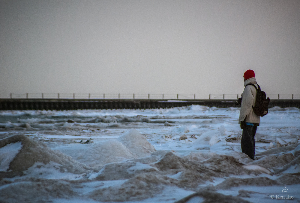 The photographer in a red ski cap, Lake Michigan, Chicago, IL
