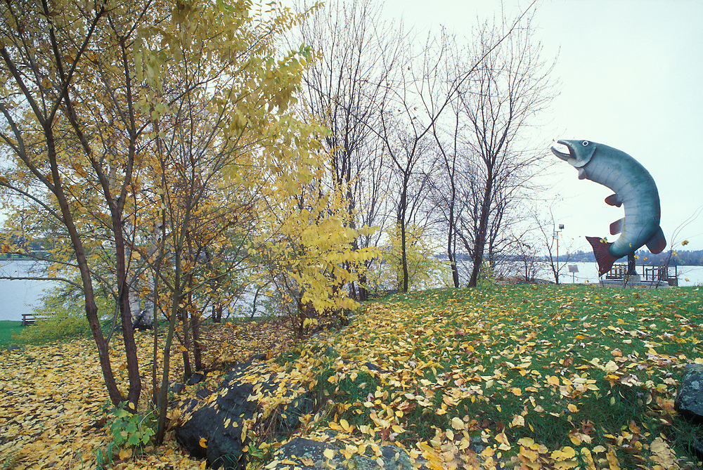 Canada, Ontario, Kenora, Husky the Musky, a 40-foot tall fiberglass fish sculpture, along Lake of the Woods on autumn morning