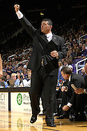 .Nov 29, 2007; Manhattan, KS, USA; Kansas State Wildcats head coach Frank Martin (C) sends in a play against the Oregon Ducks in the first half at Bramlage Coliseum in Manhattan, KS. Oregon beat Kansas State in overtime 80-77. Mandatory Credit: Peter G. Aiken-US PRESSWIRE