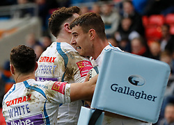 Exeter Chiefs' Ollie Devoto (right) celebrates scoring his teams first try against Sale Sharks during the Gallagher Premiership match at the AJ Bell Stadium, Salford.