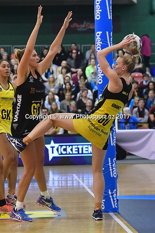 Pulse's captain Katrina Grant (R takes a pass with Magic's Lenize Potgieter during the ANZ Premiership netball match between the Pulse and Magic at the Central Energy Trust Arena in Palmerston North on Monday the 5th of June 2017. Copyright Photo by Marty Melville / www.Photosport.nz