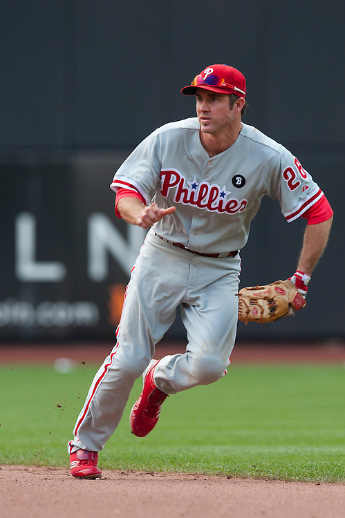 NEW YORK - JULY 16: Chase Utley #26 of the Philadelphia Phillies defends his position during the game against the New York Mets  at Citi Field on July 16, 2011 in the Queens borough of Manhattan. (Photo by Rob Tringali) *** Local Caption *** Chase Utley