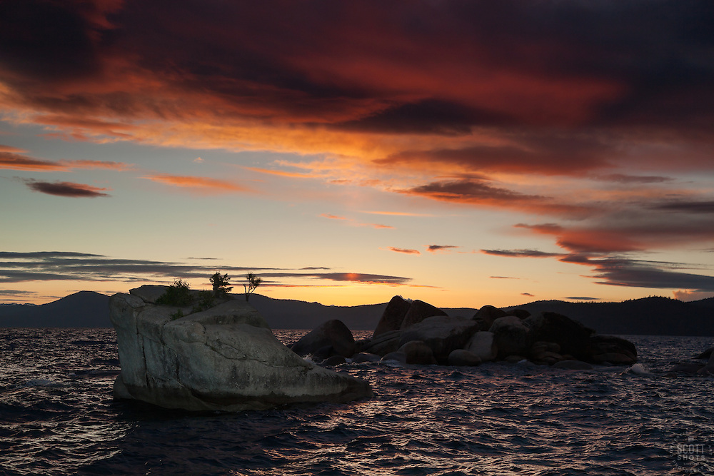 """Bonsai Rock Sunset 2"" - Photograph at sunset of the famous Bonsai Rock on the East shore of Lake Tahoe."