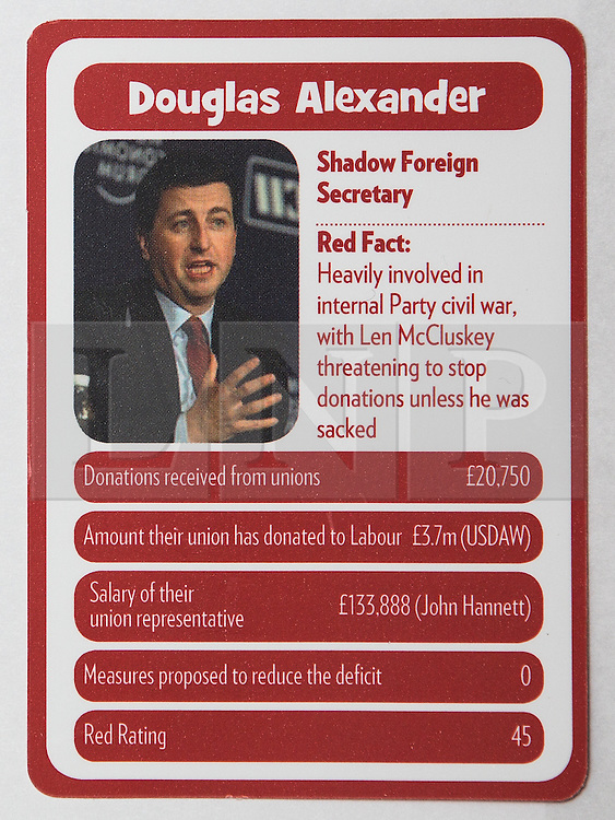 """© Licensed to London News Pictures . 29/09/2013 . Manchester , UK . Douglas Alexander . """" Top Trumped by the Unions """" cards handed out at the Conservative Party Conference . The Conservative Party Conference at Manchester Central . Photo credit : Joel Goodman/LNP **FULL PACK OF 40 TRUMP CARDS AVAILABLE ON REQUEST**"""