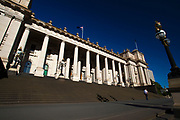 Parliament House, Melbourne- Parliament of Victoria, Australia. Begun in 1855, it has never been full completed.  It served as Parliament of Australia while Melbourne was capital of Australia between 1901 and 1927.