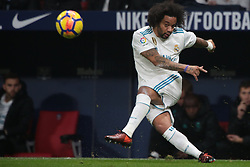 Marcelo jugador del Real Madrid dispara  un balón ante Atlético de Madrid.en el Atlético de Madrid vs Real Madrid jornada 12 del futbol español realizado en el estadio SWanda metropolitano. Madrid, Spain 18/11/2017.Foto: Juan Carlos Rojas..Marcelo player of Real Madrid fight  againt Atlético de Madrid during the Spanish league football match  12 between Atlético de Madrid vs Real Madrid at Wanda Metropolitano  stadium in Madrid, Spain, November 18 2017. (Credit Image: © Juan Carlos Rojas/Xinhua via ZUMA Wire)