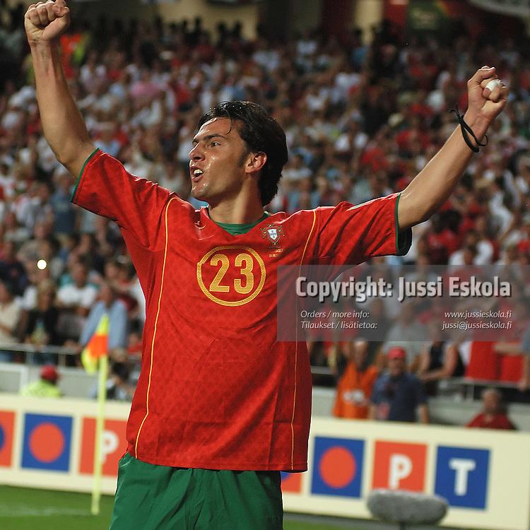Helder Postiga celebrates goal, Portugal-England 24.6.2004.&amp;#xA;Euro 2004.&amp;#xA;Photo: Jussi Eskola<br />