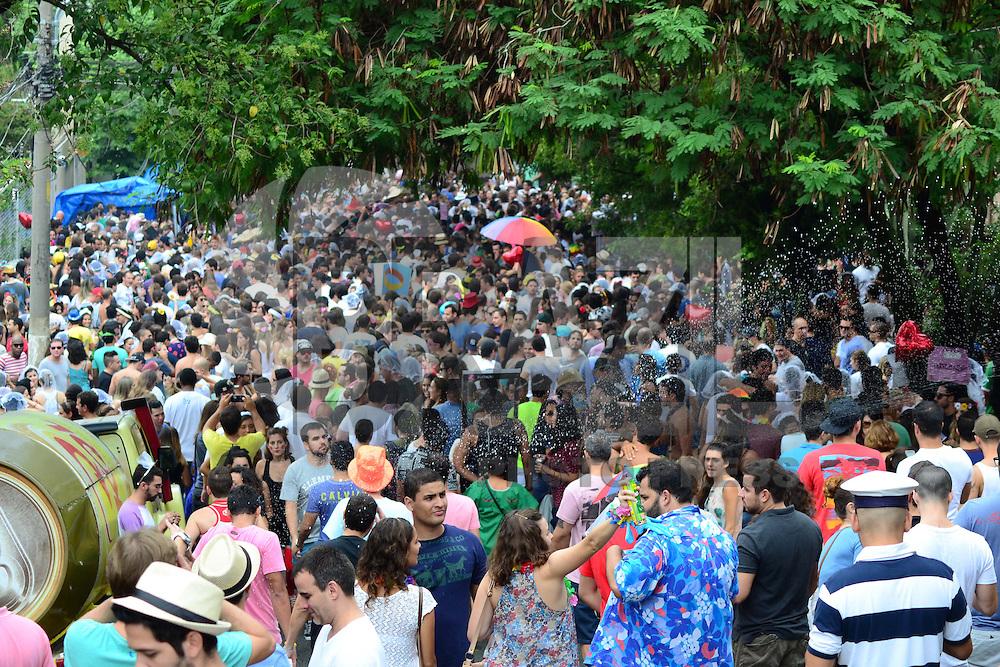 SAO PAULO, SP, 16.02.2014 - CARNAVAL SP / BLOCO CASA COMIGO - Folioes participam do Bloco de rua Casa Comigo, na Vila Madalena regiao oeste de São Paulo, neste domingo, 16. (Foto: Bruno Ulivieri / Brazil Photo Press).