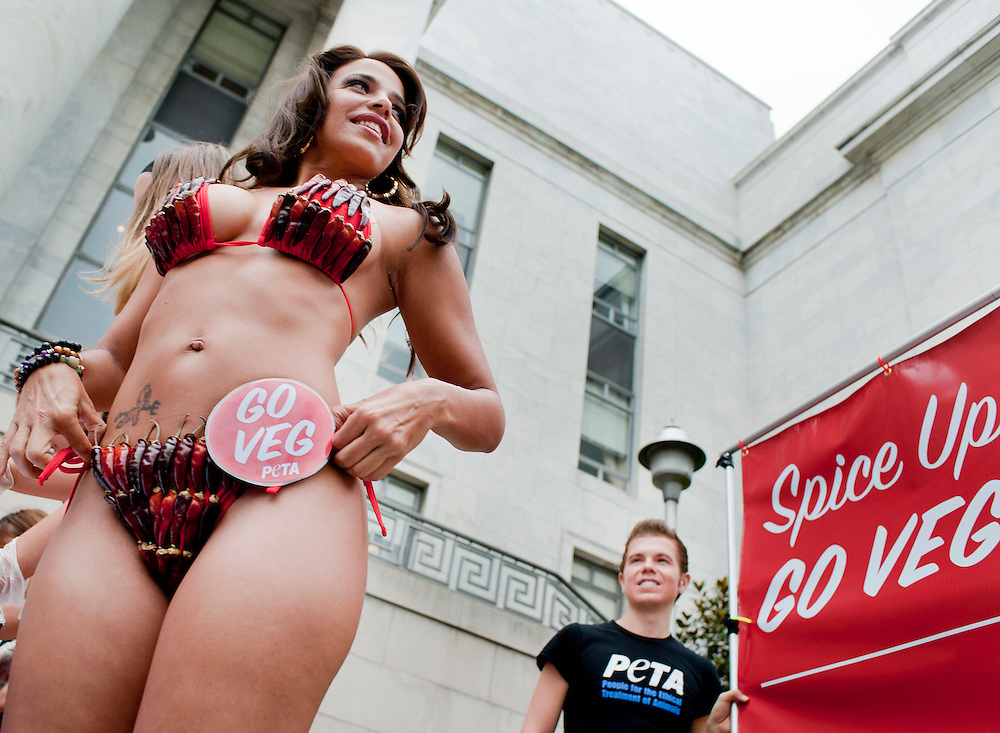 Jul 14, 2010 - Washington, District of Columbia, U.S., -   Wearing a chili-pepper bikini, men's magazine model and vegetarian Vida Guerra hands out veggie chili dogs on Capitol Hill on Wednesday. The event marks National Veggie Dog Day--PETA's answer to the meat industry's National Hot Dog Month.. (Credit Image: © Pete Marovich/ZUMA Press)