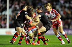 Tom Savage of Gloucester Rugby takes on the Edinburgh defence - Photo mandatory by-line: Patrick Khachfe/JMP - Mobile: 07966 386802 01/05/2015 - SPORT - RUGBY UNION - London - The Twickenham Stoop - Edinburgh Rugby v Gloucester Rugby - European Rugby Challenge Cup Final