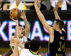 Sani Becirovic (7) of Olimpija vs Levon Kendall of Maroussi at Euroleague basketball match of Group C between KK Union Olimpija, Ljubljana and Maroussi B.C., Athens, on October 29, 2009, in Arena Tivoli, Ljubljana, Slovenia. Olimpija lost 75:81.  (Photo by Vid Ponikvar / Sportida)