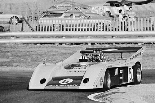 Denny Hulme, McLaren M20, in hairpin at 1972 Laguna Seca Can-Am; Photo by Pete Lyons 1972/ © 204 Pete Lyons / petelyons.com