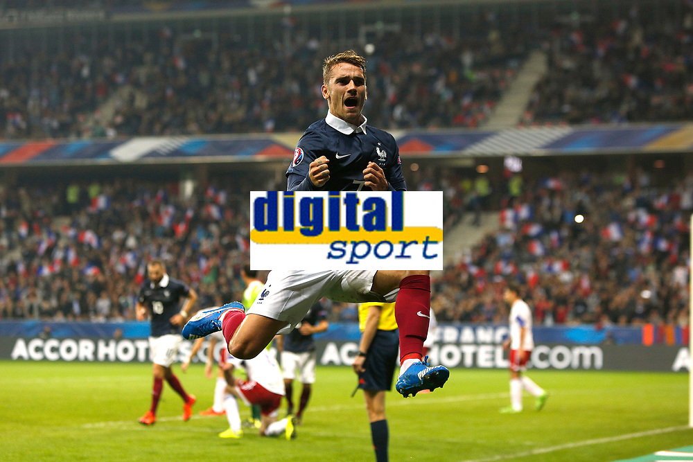 Antoine Griezmann jubilates after his goal during the International friendly game 2015 football match between France and Armenia on October 8, 2015 at Allianz Riviera of Nice, France. Photo Philippe Laurenson / DPPI