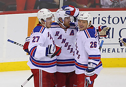 May 25, 2012; Newark, NJ, USA; The New York Rangers celebrate a goal by New York Rangers left wing Ruslan Fedotenko (26) during the second period in game six of the 2012 Eastern Conference finals at the Prudential Center.