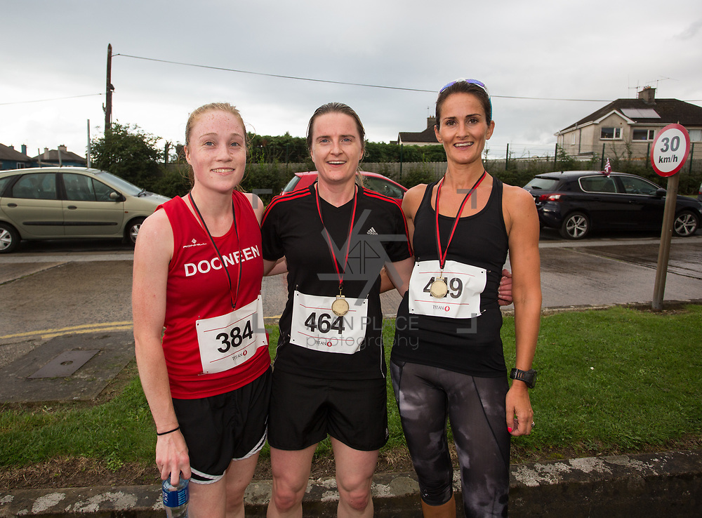 25.08. 2017.                                                      <br /> Almost 200 UL Hospitals Group staff, past and present, and members of the public completed the annual 5k Charity Run/Walk on Friday August 25th in Limerick.<br /> <br /> Pictured are the the women finalist, Shona O'Flynn, Dooneen A.C. 1st, Aisling Ahern, An Bru A.C. 3rd and Maeve Kavangh, 2nd.<br /> <br /> <br /> Everybody who participated also raised funds for Friends of Ghana, an NGO formed last year by UL Hospitals Group and its academic partner the University of Limerick to deliver medical training programmes in the remote Upper West Region of Ghana. Picture: Alan Place