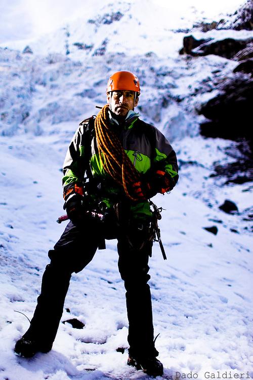 Peruvian mountain guides Renzo Moreno poses for a photo at the White Mountain range  near Huaraz, Peru, Saturday, Jan. 15, 2011.(Photo Dado Galdieri)
