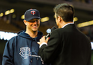Minnesota Twins Scott Diamond is interviewed by Fox Sports North reporter Robby Incmikoski after the Twins defeated the Los Angeles Angels on May 8, 2012 at Target Field in Minneapolis, Minnesota.  The Twins defeated the Angels 5 to 0. © 2012 Ben Krause