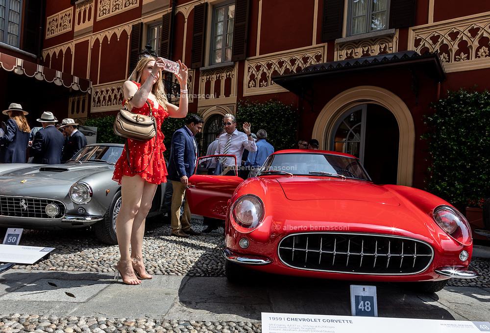 Como, Italy, Concorso d'Eleganza Villa D'Este, from left Ferrari 250 GT Berlinetta SWB and Chevrolet Corvette , Modena