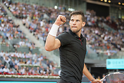 May 11, 2018 - Madrid, Spain - DOMINIC THIEM celebrates in a match against R. Nadal during the quarter finals of Mutua Madrid Open 2018 - ATP in Madrid. DOMINIC THIEM won the match 7-5(3) 6-3. (Credit Image: © Patricia Rodrigues via ZUMA Wire)