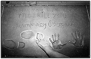 Foot goes Hollywood at Grauman's Chinese: footograph with Humphrey Bogart's cement tribute..