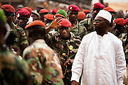 Junta leader Moussa Dadis Camara visits medical school in Conkary, Guinea on March 5, 2009.