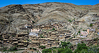 AIT BEN AMMAR, MOROCCO - CIRCA MAY 2018: Village of Ait Ben Ammar in the High Atlas Mountains, near the Tizi-n-Tichka mountain pass.