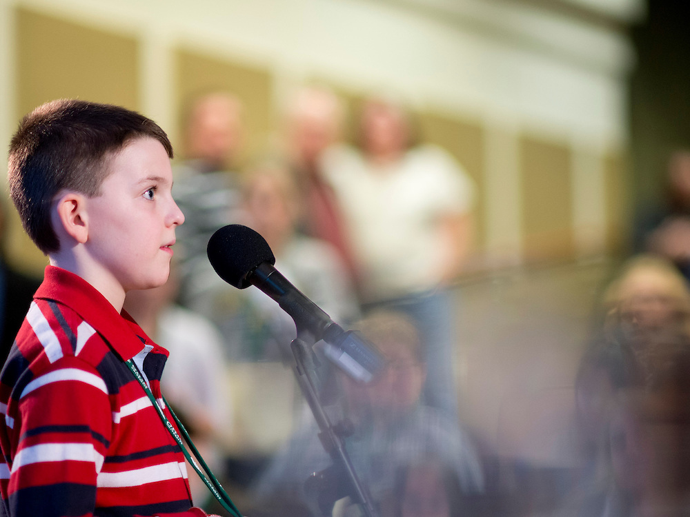 Samuel Fleming waits for a his next word during the Southeast Ohio Regional Spelling Bee Saturday, March 16, 2013. The Regional Spelling Bee was sponsored by Ohio University's Scripps College of Communication and held in Margaret M. Walter Hall on OU's main campus.