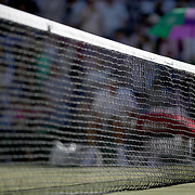 LONDON, ENGLAND - JULY 14: The net on Center Court during the Roger Federer of Switzerland match against Thomas Berdych of the Czech Republic in the Gentlemen's Singles Semi-final of the Wimbledon Lawn Tennis Championships at the All England Lawn Tennis and Croquet Club at Wimbledon on July 14, 2017 in London, England. (Photo by Tim Clayton/Corbis via Getty Images)