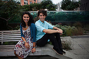 Spoken word poets Sarah Kay and Phil Kaye at the High Line in New York on September 10, 2013. Sarah Kay is the Founder and both she and Phil Kaye are Co-Directors of Project V.O.I.C.E., for Vocal Outreach Into Creative Expression, that shares the art of spoken word poetry with schools across the country and around the world for students from kindergarten to graduate school.
