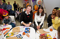© London News Pictures. 31/10/2013 . London, UK.  Deputy Prime Minister NICK CLEGG and his wife MIRIAM GONZALEZ DURANTEZ meet children, parents and volunteers at the Great Ormond Street Hospital annual Halloween party.  Photo credit : Ben Cawthra/LNP