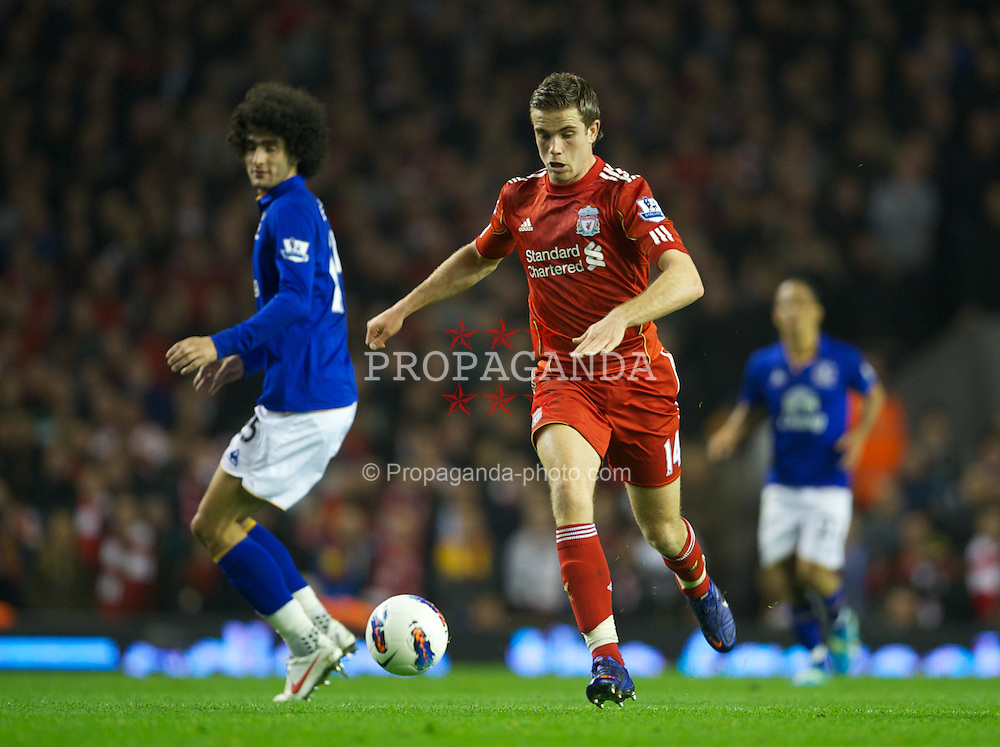 LIVERPOOL, ENGLAND - Tuesday, March 13, 2012: Liverpool's Jordan Henderson in action against Everton during the Premiership match at Anfield. (Pic by David Rawcliffe/Propaganda)