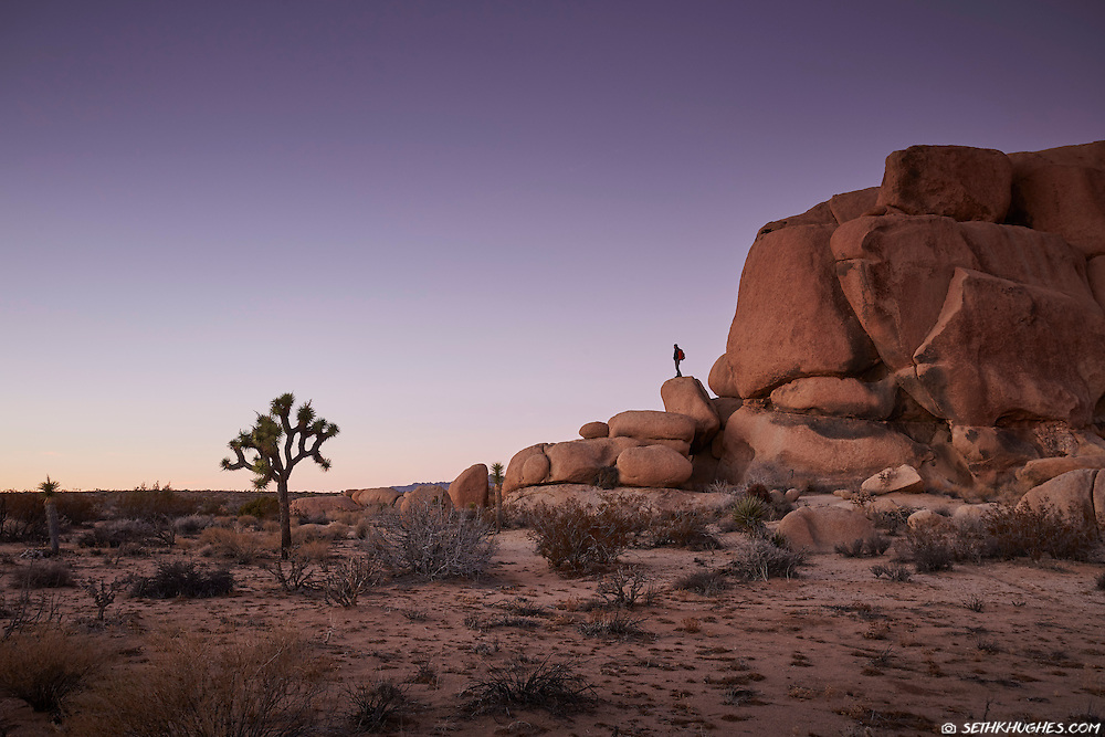 A hiker enjoys the solitude of Joshua Tree National Park just after sunset.