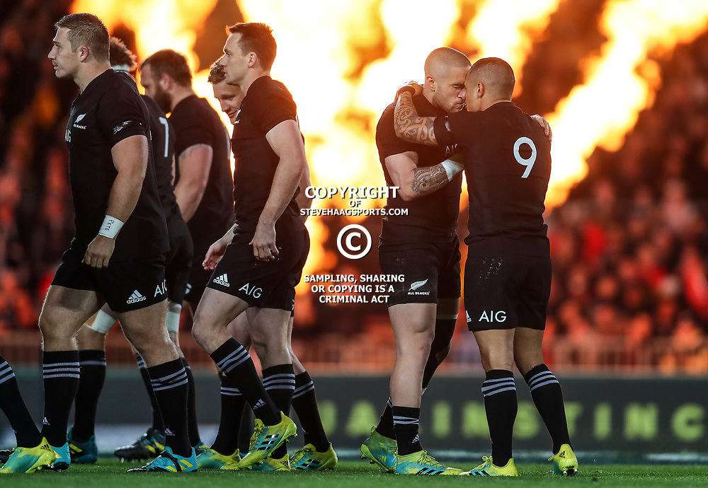 TJ Perenara and Aaron Smith hongi before before the Bledisloe Cup and Rugby Championship rugby match between the New Zealand All Blacks and Australia Wallabies at Eden Park in Auckland, New Zealand on Saturday, 25 August 2018. Photo: Simon Watts / lintottphoto.co.nz
