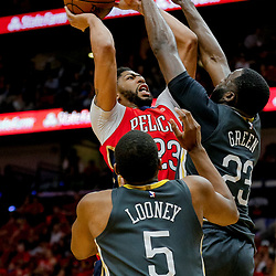 May 6, 2018; New Orleans, LA, USA; New Orleans Pelicans forward Anthony Davis (23) shoots over Golden State Warriors forward Draymond Green (23) and forward Kevon Looney (5) defend during the third quarter in game four of the second round of the 2018 NBA Playoffs at the Smoothie King Center. The Warriors defeated the Pelicans 118-92. Mandatory Credit: Derick E. Hingle-USA TODAY Sports
