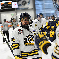 BUFFALO, NY - SEP 20,  2017: Ontario Junior Hockey League Governors Showcase game between the Mississauga Chargers and Whitby Fury, Shane Bull #94 of the Whitby Fury celebrates the goal during the first period.<br /> (Photo by Andy Corneau / OJHL Images)