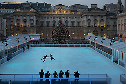 © licensed to London News Pictures. London, UK 15/11/2012. A photo-call taking place to mark the opening of the Somerset House ice rink with two-time British junior ice skating champions and Team GB hopefuls Charlotte Aiken and Josh Whidbourne in London. Photo credit: Tolga Akmen/LNP