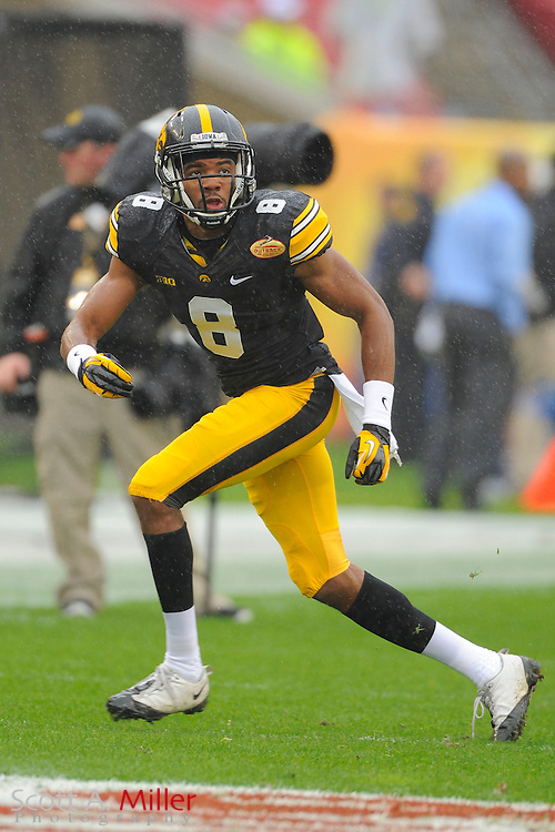 Iowa Hawkeyes wide receiver Don Shumpert (8) prior to the 2014 Outback Bowl at Raymond James Stadium on Jan. 1, 2014 in Tampa, Florida. <br /> <br /> &copy;2014 Scott A. Miller