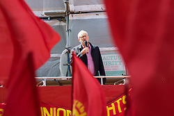 Clerkenwell Green, London, May 1st 2016. Labour Party leader Jeremy Corbyn addresses a rally prior to the annual May Day march to mark International Workers' Day. ©Paul Davey<br /> FOR LICENCING CONTACT: Paul Davey +44 (0) 7966 016 296 paul@pauldaveycreative.co.uk