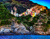 """The bell tower of the church of San Pietro rises above Corniglia""…<br />