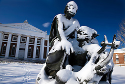 Snow covered statue of Homer in front of Old Cabell Hall, University of Virginia, Charlottesville, Virginia