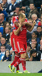 MANCHESTER, ENGLAND - Wednesday, October 2, 2013: Bayern Munich's Arjen Robben celebrates scoring the third goal against Manchester City during the UEFA Champions League Group D match at the City of Manchester Stadium. (Pic by David Rawcliffe/Propaganda)