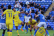 Peterborough United defender Andrew Hughes (3) clears the ball during the EFL Cup match between Peterborough United and AFC Wimbledon at ABAX Stadium, Peterborough, England on 9 August 2016. Photo by Stuart Butcher.
