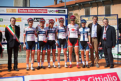 The Cervélo-Bigla Cycling Team line up on the start podium before rolling out for the Trofeo Alfredo Binda - a 123.3km road race from Gavirate to Cittiglio on March 20, 2016 in Varese, Italy.