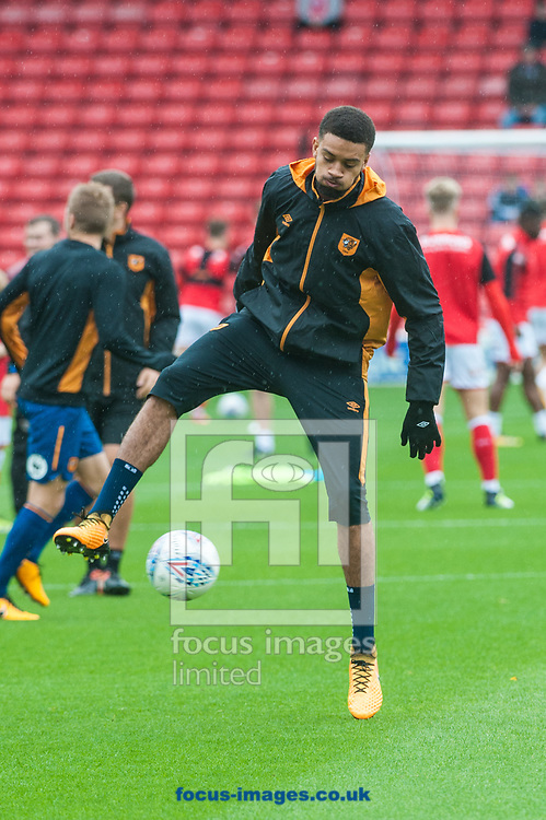 Michael Hector of Hull City warms up prior to the Sky Bet Championship match at Oakwell, Barnsley<br /> Picture by Matt Wilkinson/Focus Images Ltd 07814 960751<br /> 21/10/2017