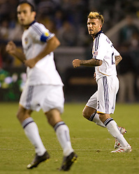 LA Galaxy midfielder's David Beckham (r) and Landon Donovan (l) look back for the ball during the Western Conference Final. The LA Galaxy defeated the Houston Dynamo 2-1 to win the MLS Western Conference Final at Home Depot Center stadium in Carson, California on Friday November 13, 2009.....