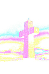 Bald Knob Cross (circ 1977 - original is a transparancy) surrounded by storm clouds...**NOTE**  Vertical lines are from original processing. This image was produced in part utilizing High Dynamic Range (HDR) or panoramic stitching or other computer software manipulation processes. It should not be used editorially without being listed as an illustration or with a disclaimer. It may or may not be an accurate representation of the scene as originally photographed and the finished image is the creation of the photographer.