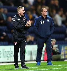 Bournemouth Manager, Eddie Howe encourages his team ahead of Preston North End Manager, Simon Grayson- Mandatory byline: Matt McNulty/JMP - 07966386802 - 22/09/2015 - FOOTBALL - Deepdale Stadium -Preston,England - Preston North End v Bournemouth - Capital One Cup - Third Round
